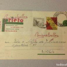 Sellos: TARJETA COMERCIAL- LIBRERIA PRIETO -AÑO 1937 -CENSURA MILITAR GRANADA - CON SELLO LOCAL BENÉFICO. Lote 103826379