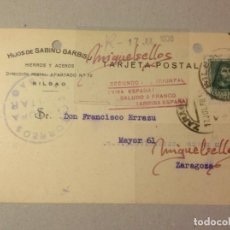 Sellos: TARJETA COMERCIAL-SABINO GARBISU ACEROS -AÑO 1938 -CENSURA MILITAR BILBAO( VIZCAYA) MARCA PATRIÓTICA. Lote 103827019
