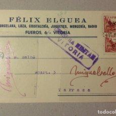 Sellos: TARJETA COMERCIAL-FÉLIX ELGUEA FERRETERÍA -AÑO 1939 -CENSURA MILITAR VITORIA . Lote 103828315