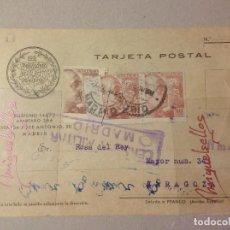 Sellos: TARJETA COMERCIAL- LOS PREVISORES DEL PORVENIR -AÑO 1939 -CENSURA MILITAR MADRID. Lote 103831003