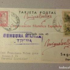 Sellos: TARJETA COMERCIAL-ORGANIZACIÓN FILATÉLICA -AÑO 1939-CENSURA MILITAR UTRERA (SEVILLA) CON LOCAL. Lote 103831639