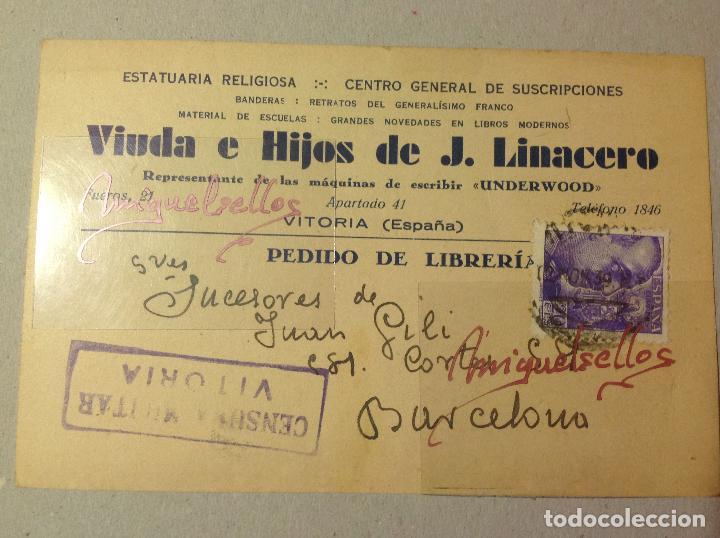 418a01f61a4 TARJETA COMERCIAL- J. LINACERO MÁQUINAS ESCRIBIR UNDERWOOD - AÑO 1939 - CENSURA MILITAR VITORIA