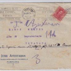 Sellos: SOBRE COMERCIAL JOSÉ AYESTARAN -1929 -PAMPLONA NAVARRA / IGUALADA LLEGADA MAT RODILLO ACEITE OLIVA. Lote 108819319