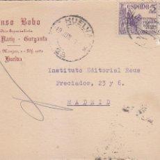 Sellos: EL CID Y GENERAL FRANCO TARJETA COMERCIAL ALONSO BOBO CIRCULADA 1949 HUELVA-MADRID. LLEGADA MEDICINA. Lote 19866324