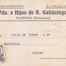 Sellos: CORREOS CENSURA MILITAR EN TARJETA COMERCIAL VDA E HIJOS DE R GALLASTEGUI 1938 PLACENCIA (GUIPUZCOA). Lote 26711703