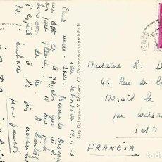 Sellos: SAN SEBASTIAN TARJETA POSTAL PLAZA DE TOROS CON MAT ESTACION 1956 RAILWAY STATION POSTMARK. Lote 109260535