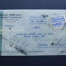 Sellos: SOBRE CIRCULADO ( VIA AEREA ) DE BOLIVIA A MATARÓ AÑO 1945 / CENSURA GUBERNATIVA BARCELONA /. Lote 109286331