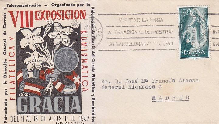 RARO MATASELLOS RODILLO VISITAD FERIA DE MUESTRAS SOBRE GRACIA BARCELONA 1957 CIRCULADO A MADRID MPM (Sellos - Historia Postal - Sello Español - Sobres Circulados)