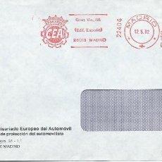 Sellos: 1992. MADRID. FRANQUEO MECÁNICO/METER. COMISARIADO EUROPEO DEL AUTOMÓVIL.CARS.. Lote 111385583