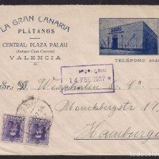 Sellos: SOBRE ILUSTRADO LA GRAN CANARIA PLATANOS - VALENCIA A HAMBURGO FEBRERO DE 1927. Lote 111495431