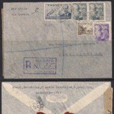 Sellos: CERTIFICADO MADRID A WASHINGTON D.C. 1940 - EDIFIL 886 Y LACRES DR. NIEMEYER. Lote 111496167