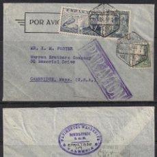 Sellos: PAVIMENTOS WARRENITE-BITULITHIC - VALENCIA A MASSACHUSETTS - 30 ABRIL 1941 - CENSURA. Lote 111497167