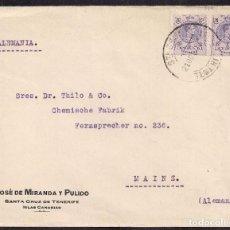 Sellos: TENERIFE A ALEMANIA - CHEMISCHE FABRIK THILO & CO. - JOSÉ DE MIRANDA Y PULIDO.. Lote 111501667