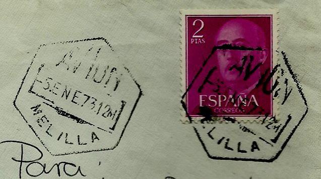 ESPAÑA MATASELLOS (ESTAFETA) MELILLA-AVION 1973 (EXAGONAL) (SOBRE) (Sellos - Historia Postal - Sello Español - Sobres Circulados)