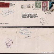 Sellos: AÑO 1972 CERTIFICADO EXPRESS BARCELONA A NEW JERSEY. Lote 113704467
