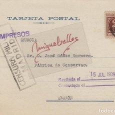 Sellos: TARJETA COMERCIAL -ELZABURU . PATENTES MADRID . AÑO 1939 CON CENSURA . Lote 113912051