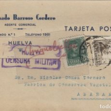 Sellos: TARJETA COMERCIAL -JILUMINADO BARROSO CORDERO COMERCIAL HUELVA AÑO 1939 CON CENSURA MILITAR HUELVA . Lote 113912135