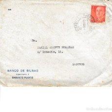 Sellos: 1968. FRANQUEO PUERTO SAGUNTO MEMBRETE BANCO BILBAO. SOBRE CIRCULADO. Lote 115731951