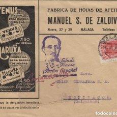 Timbres: SOBRE COMERCIAL HOJAS DE AFEITAR VENUS , MARUXA , M ZALDIVAR . MÁLAGA 1938 A MONDRAGÓN (GUIPUZCOA). Lote 115921115