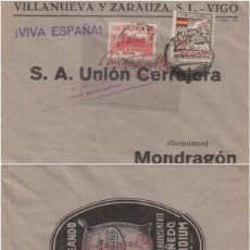 Sellos: SOBRE COMERCIAL. VILLANUEVA Y ZARAUZA -19?¿ - VIGO A MONDRAGÓN (GUIPUZCOA) . CENSURA SAN SEBASTIÁN . Lote 115936759