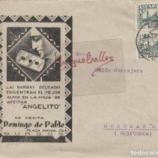 Timbres: SOBRE COMERCIAL. DOMINGO DE PABLO, ANGELITO HOJA DE AFEITAR -19¿? -BURGOS A MONDRAGÓN( GUIPÚZCOA). Lote 115936991
