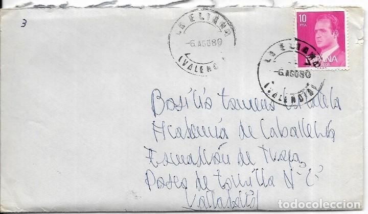 == S07 - SOBRE CIRCULADO - VALENCIA - VALLADOLID 1980 (Sellos - Historia Postal - Sello Español - Sobres Circulados)