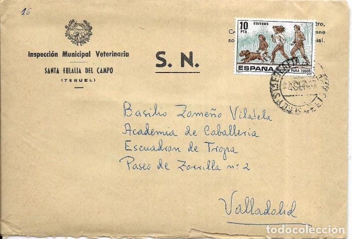 == S08 - SOBRE CIRCULADO - INSPECCIÓN MUNICIPAL VETERINARIA - SANTA EULALIA DEL CAMPO (Sellos - Historia Postal - Sello Español - Sobres Circulados)