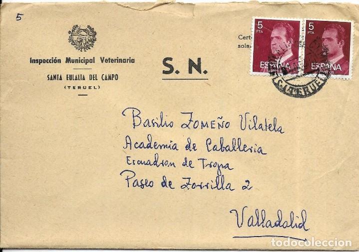 == S16 - SOBRE CIRCULADO - INSPECCIÓN MUNICIPAL VETERINARIA - SANTA EULALIA DEL CAMPO (Sellos - Historia Postal - Sello Español - Sobres Circulados)