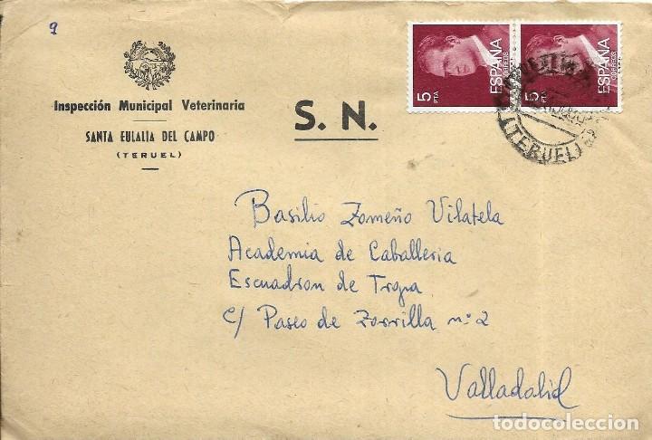== S17 - SOBRE CIRCULADO - INSPECCIÓN MUNICIPAL VETERINARIA - SANTA EULALIA DEL CAMPO (Sellos - Historia Postal - Sello Español - Sobres Circulados)