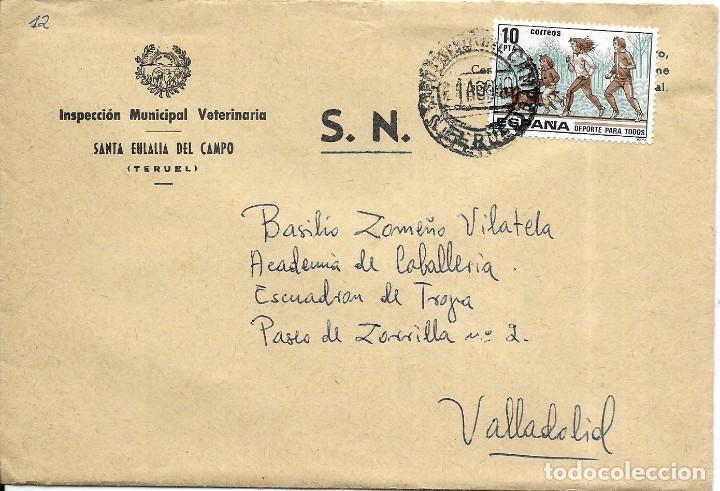 == S18 - SOBRE CIRCULADO - INSPECCIÓN MUNICIPAL VETERINARIA - SANTA EULALIA DEL CAMPO (Sellos - Historia Postal - Sello Español - Sobres Circulados)