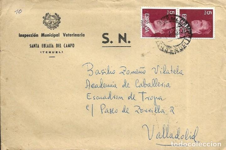 == S20 - SOBRE CIRCULADO - INSPECCIÓN MUNICIPAL VETERINARIA - SANTA EULALIA DEL CAMPO (Sellos - Historia Postal - Sello Español - Sobres Circulados)