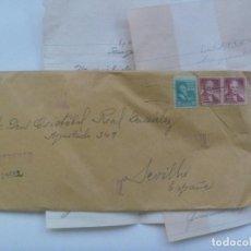Sellos: CARTA DESDE PUERTO RICO ( USA ), 1956. . CIRCULADA A SEVILLA A ESCRITOR. MANUSCRITA. Lote 122001303