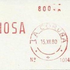 Sellos: 1980. CORUÑA. FRANQUEO MECÁNICO. FRAGMENTO. METER CUT. FENOSA. MÁQUINA 1014. ENERGÍA. ELECTRICIDAD.. Lote 122168123