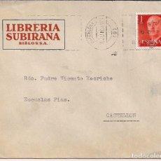 Timbres: CARTA COMERCIAL CIRCULADA DESDE LA LIBRERIA SUBIRANA DE BARCELONA A CASTELLÓN CON SELLO DE FRANCO DE. Lote 125029135