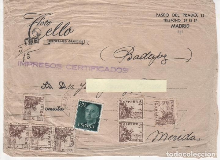 Sellos: Lote de 2 Sobres circulados de Madrid a Mérida. - Foto 2 - 125269919