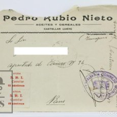 Sellos: SOBRE CIRCULADO, AYUDA SRI - PEDRO RUBIO NIETO - MATASELLOS CONSEJO MUNICIPAL CASTELLAR, JAÉN. Lote 125811839
