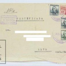 Sellos: SOBRE CIRCULADO MATASELLOS CORREO DE CAMPAÑA - SELLOS REPÚBLICA ESPAÑOLA, 1938 - REUS - GUERRA CIVIL. Lote 125817799