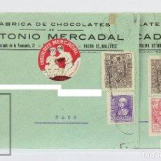 Sellos: PAREJA DE SOBRES CIRCULADOS CON MEMBRETE - CHOCOLATES ANTONIO MERCADAL - PALMA MALLORCA, 1940. Lote 125820639