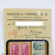 Sellos: SOBRE CIRCULADO CON MEMBRETE VINÍCOLA FORNER. TORTOSA / BENICARLÓ / SAGUNTO - GUERRA CIVIL, 1939. Lote 125889227