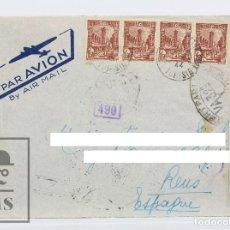 Sellos: SOBRE CIRCULADO CON MATASELLOS DE TÚNEZ - MEMBRETE DE CORREO AÉREO / PAR AVION / AIR MAIL - AÑO 1944. Lote 125889715