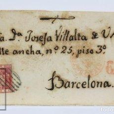 Sellos: CARTA CIRCULADA CON SELLO 6 CUARTOS DE 1854, EDIFIL 24 - MATASELLOS PARRILLA Y MATASELLOS LLEGADA. Lote 125894643