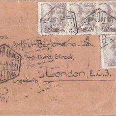 Sellos: GENERAL FRANCO GRAN FRANQUEO EN CARTA 1945 CORREO AEREO BARCELONA A LONDRES. MARCAS CENSURA. EL CID. Lote 134781954
