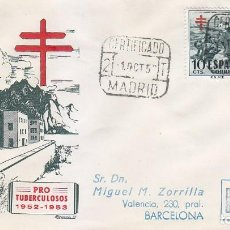 Sellos: PRO TUBERCULOSOS 1952 RARO SOBRE DP SANATORIO CIRCULADO CERTIFICADO 1 OCTUBRE A BARCELONA. LLEGADA.. Lote 135254870