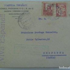 Sellos: GUERRA CIVIL: DOS HERMANAS A CHIPIONA. VIÑETA. CENSURA MILITAR. 1937. CALLE PABLO IGLESIAS. Lote 135367886