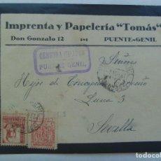 Sellos: GUERRA CIVIL: SOBRE DE PUENTE GENIL A SEVILLA. SELLO ISABEL Y VIÑETA CORDOBA. CENSURA MILITAR. 1937. Lote 135427186