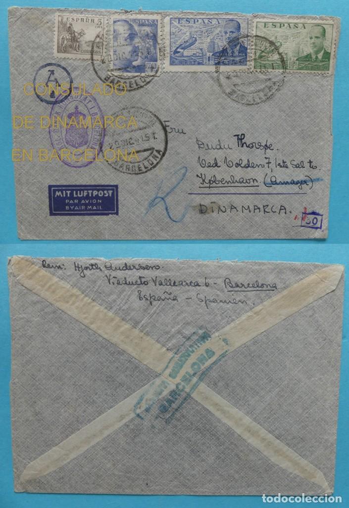 CORREO AEREO CARTA MARCA CONSULADO DE DINAMARCA EN BARCELONA - CENSURA BARCELONA Y ALEMANIA AÑO 1941 (Sellos - Historia Postal - Sello Español - Sobres Circulados)