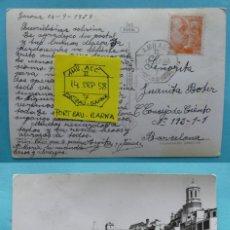 Sellos: FILATELIA - POSTAL MATASELLO FERROCARRIL AMBULANTE ASCENDENTE PORT BAU BARCELONA 14 SEPTIEMBRE 1958. Lote 135798914