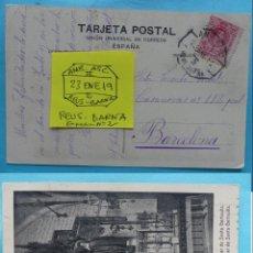 Sellos: FILATELIA - POSTAL - MATASELLO FERROCARRIL AMBULANTE ASCENDENTE REUS BARCELONA 23 ENERO 1919. Lote 135799738