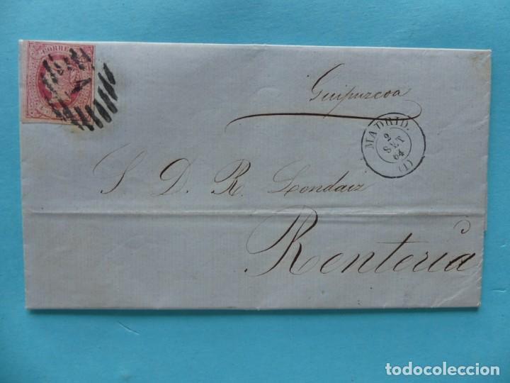 FILATELIA CARTA EDIFIL 64 MATASELLO PARRILLA CON CIFRA Nº1 FECHADOR DE MADRID DORSO FECHADOR BILBAO (Sellos - Historia Postal - Sello Español - Sobres Circulados)