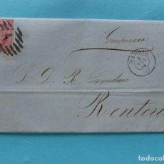 Sellos: FILATELIA CARTA EDIFIL 64 MATASELLO PARRILLA CON CIFRA Nº1 FECHADOR DE MADRID DORSO FECHADOR BILBAO. Lote 136278534